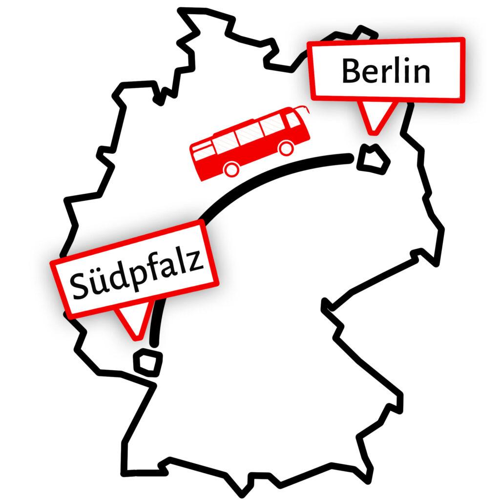 Grafik die eine Busfahrt durch Deutschland von der Südpfalz nach Berlin zeigt.