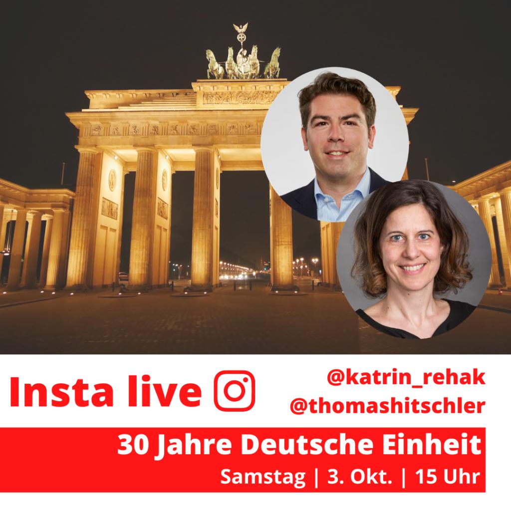 Katrin Rehak und Thomas Hitschler auf einer Bildmontage mit dem Brandenburger Tor aus Berlin im Hintergrund.