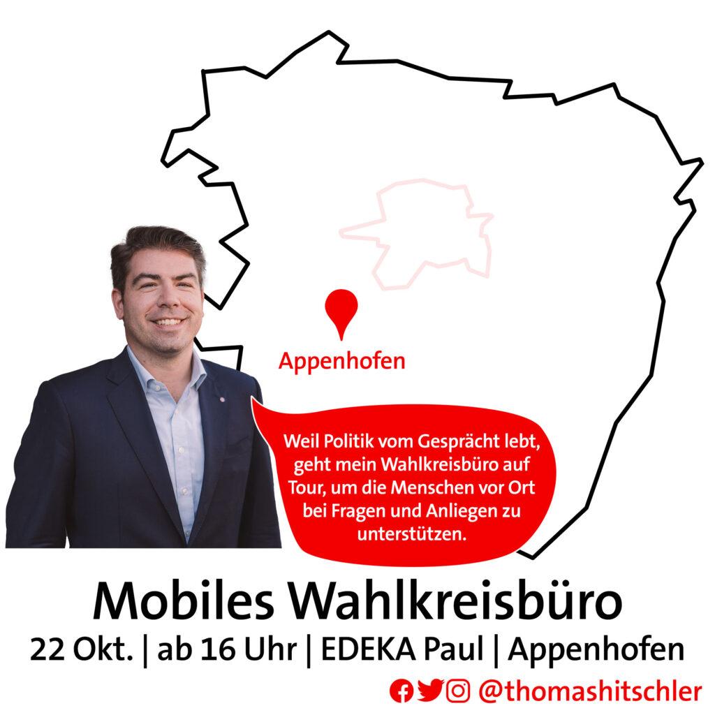 Thomas Hitschler in einer Bildmontage mit Landkarte des Wahlkreises zur Bewerbung des mobilen Wahlkreisbüros.