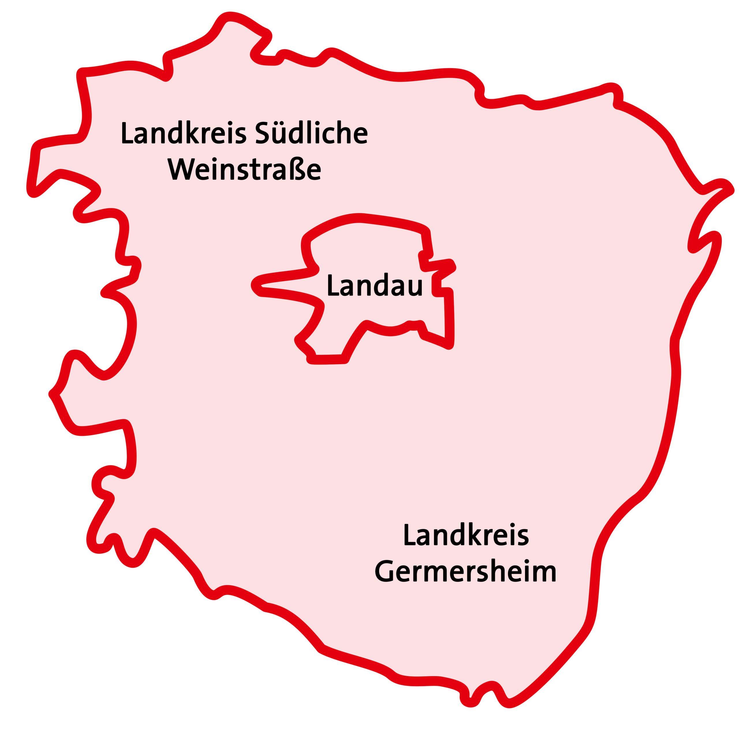 Karte des Landkreises schematisch, grafisch dargestellt.