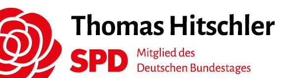Logo der Homepage: Thomas Hitschler, MdB, SPD, daneben SPD-Rose